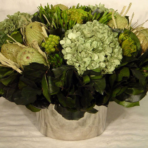 Bougainvillea Small Round Nickel Container - Banksia Light Green, Brunia Yellow & Hydrangea Basil