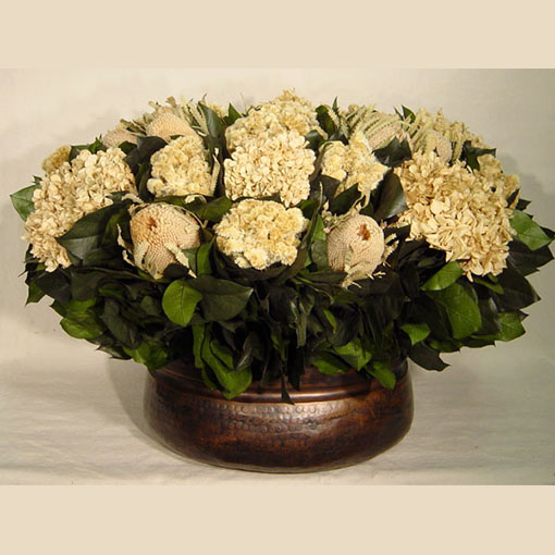 Bougainvillea Copper Oval Container - Banksia Natural, Celosia and Hydrangea Ivory