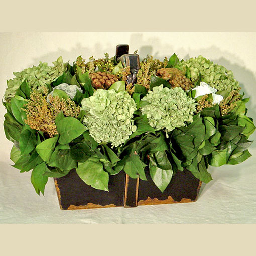 Bougainvillea Black Wooden Box w/ Handle - Brunia & Heather Brown, Hydrangea Basil, Roses Green & White