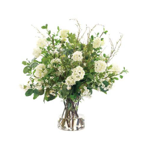 NDI  Snowball Mixed Blossoms | Glass Cylinder | Cream Green White