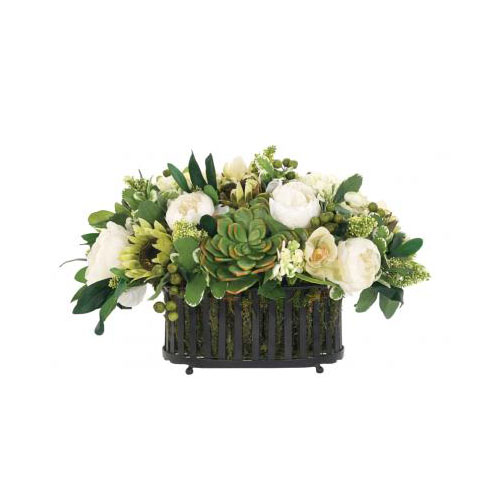 NDI  Succulent Peony Green White,Oval Iron Planter