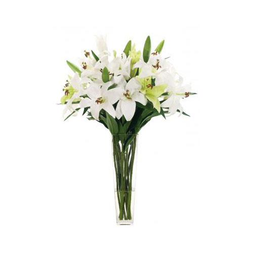 NDI  Lily Casablanca White Green, Glass Square
