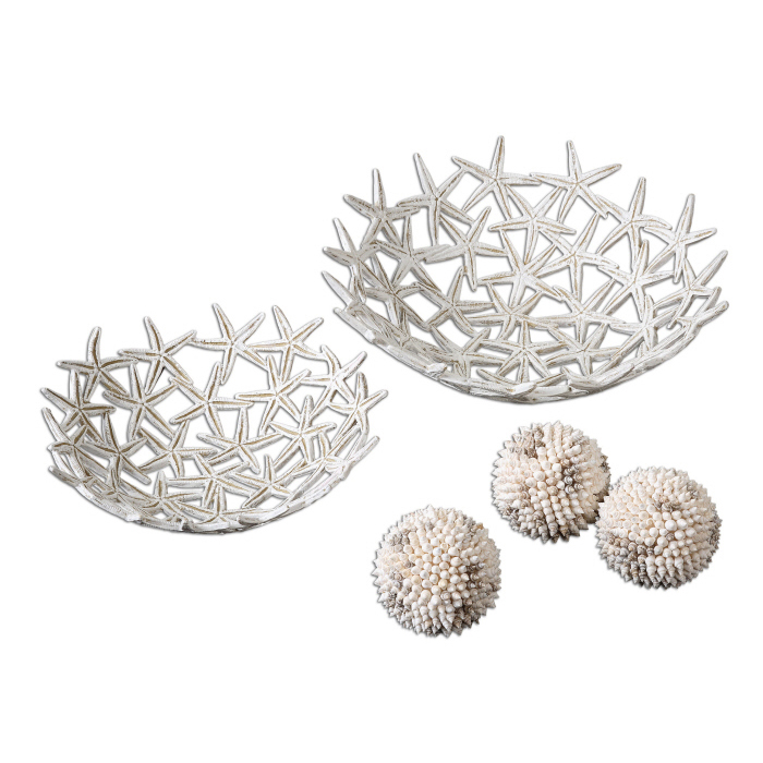 Uttermost Starfish Bowls with Spheres, S/5