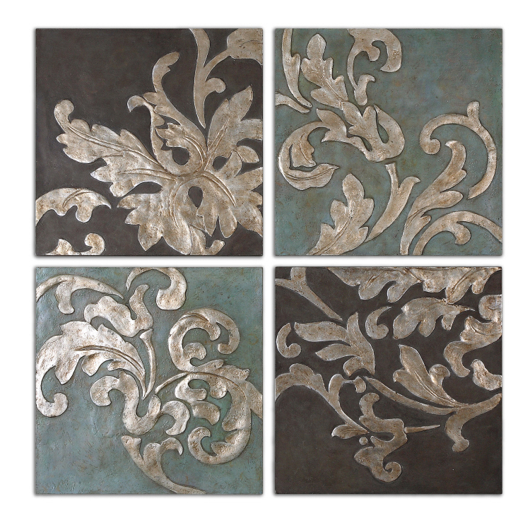 Uttermost Damask Relief Blocks, S/4