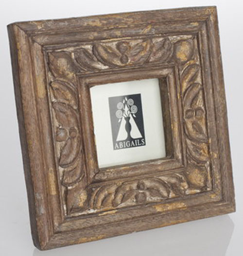 Abigails Square Wooden Frame in Antiqued Natural and Gold Patina