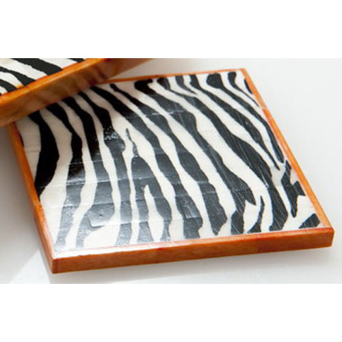 Abigails Horn Coaster in Zebra Design, Set of 4
