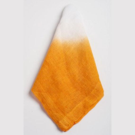 Abigails Tangerine and White Tye Dye Linen Napkin