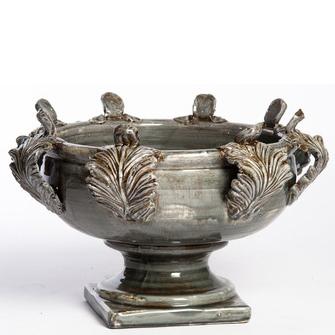 Abigails Large Ceramic Centerpiece in Gray