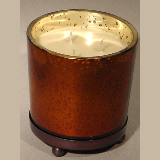 Bougainvillea Fragrant Candle Round Antique Copper Glass Container w/ Stand
