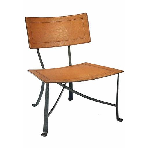 Selamat Klismos Wrought Iron Lounge Chair-Silver Finish