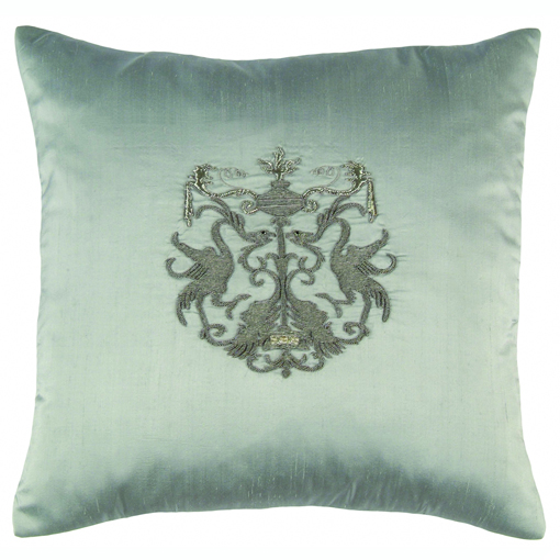 Lili Alessandra Crest Square Pillow in Blue Silk