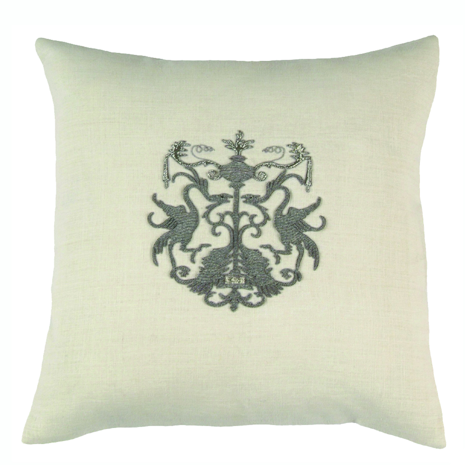 Lili Alessandra Crest Square Pillow in White Linen