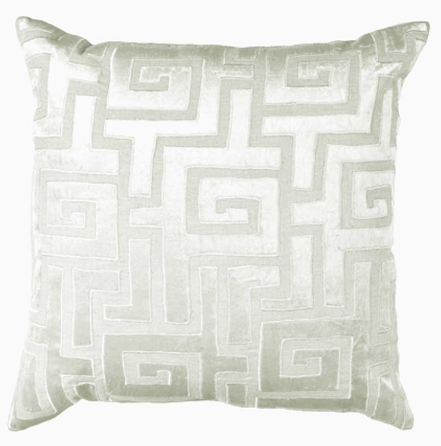 Lili Alessandra Onasis Square Pillow in White/Silver Linen