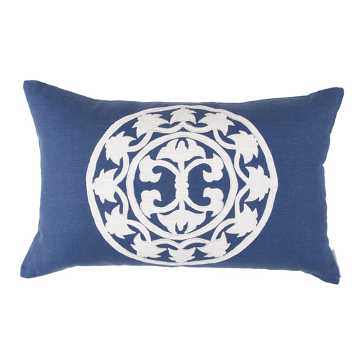 Lili Alessandra Lili Rectangle Pillow in Navy/White Linen