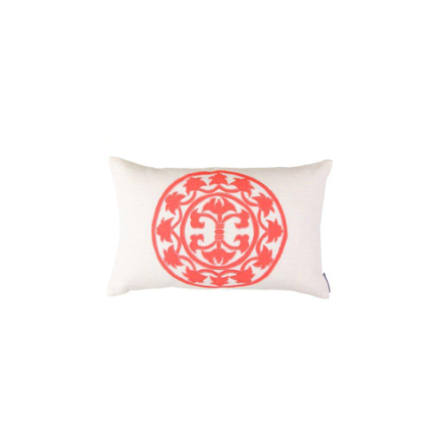 Lili Alessandra Lili Rectangle Pillow in White/Coral Linen