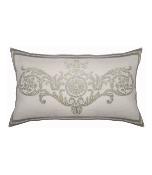 Lili Alessandra Paris Rectangle Pillow in White/Silver Linen