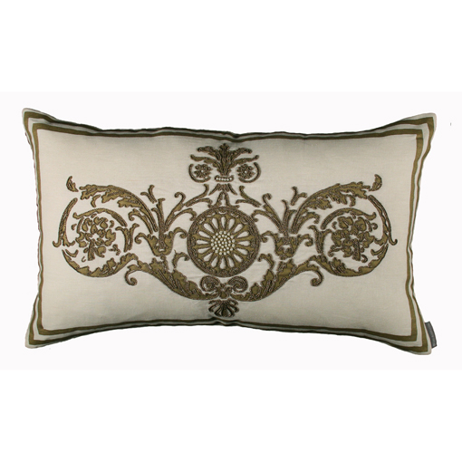 Lili Alessandra Paris Rectangle Pillow in White/Gold Linen
