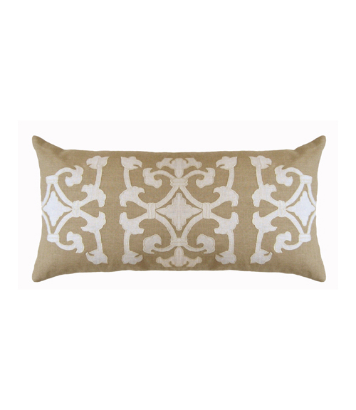 Lili Alessandra Angie Rectangle Pillow in Natural/White Linen