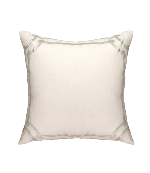 Lili Alessandra Angie European Pillow in White/Silver Linen