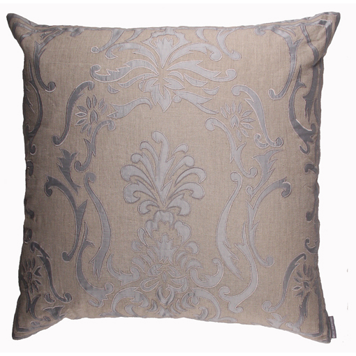 Lili Alessandra Louie European Pillow in Natural/Blue Linen