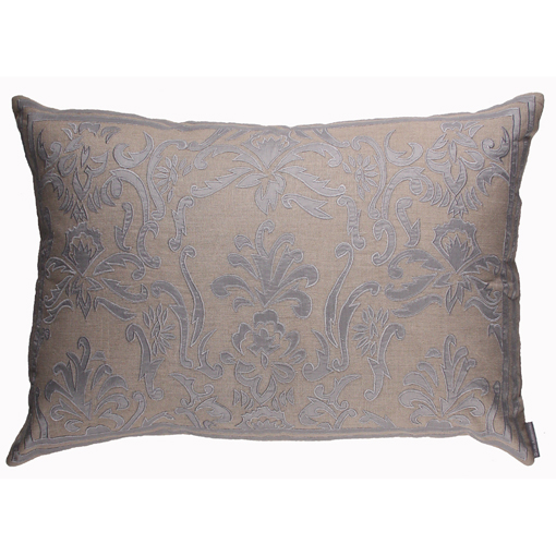 Lili Alessandra Louie Rectangle Pillow in Natural/Blue Linen