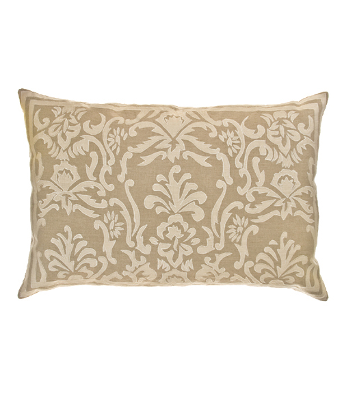 Lili Alessandra Louie Rectangle Pillow in Natural/White Linen