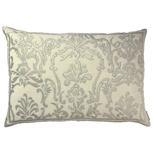 Lili Alessandra Louie Rectangle Pillow in White/Silver Linen