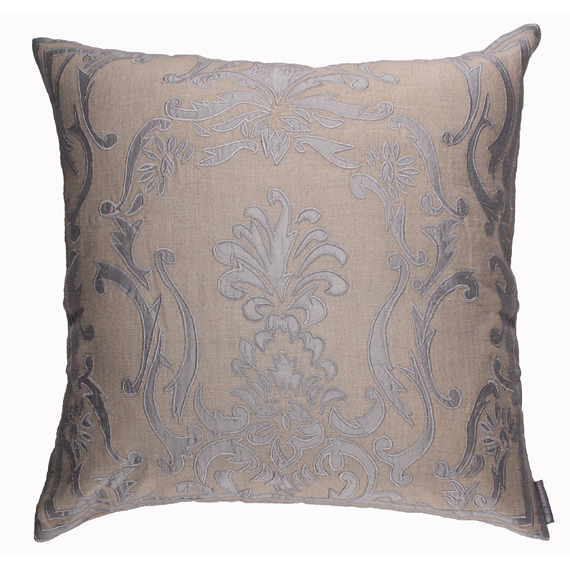 Lili Alessandra Louie Square Pillow in Natural/Blue Linen
