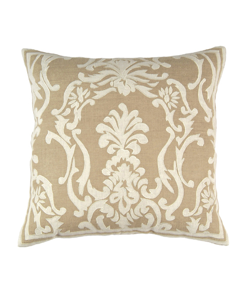 Lili Alessandra Louie Square Pillow in Natural/White Linen