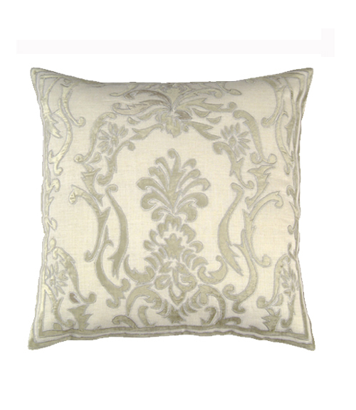 Lili Alessandra Louie Square Pillow in White/Silver Linen