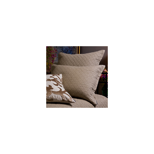 Lili Alessandra Emily Diamond Quilted Basics Pillow in Flax Linen