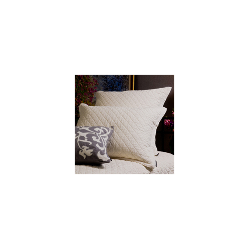 Lili Alessandra Emily Diamond Quilted Basics Pillow in White Linen