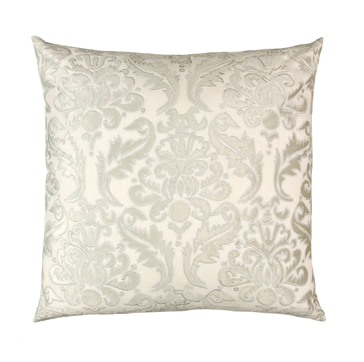 Lili Alessandra Versailles European Pillow in White/Silver Linen