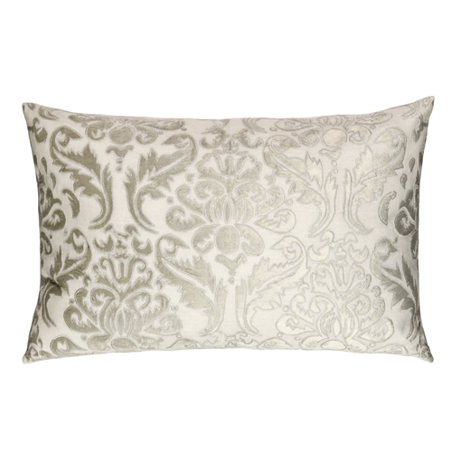 Lili Alessandra Versailles Rectangle Pillow in White/Silver Linen