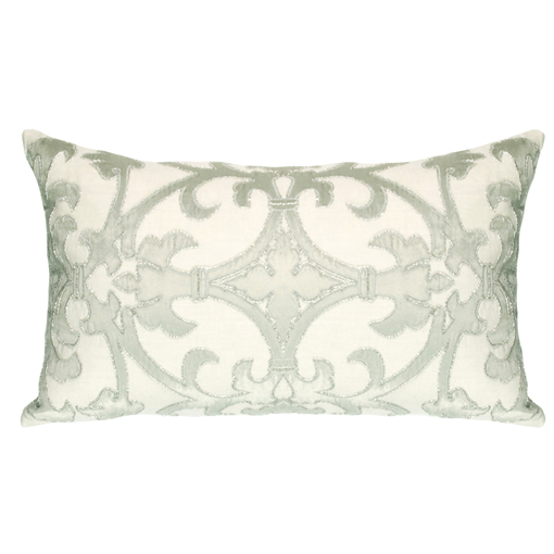 Lili Alessandra Olivia Rectangle Pillow in White/Silver Linen