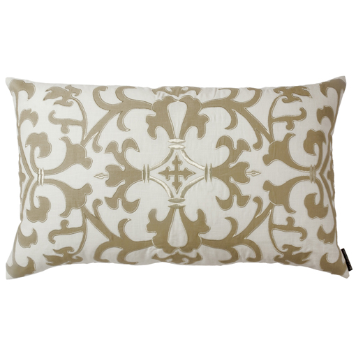 Lili Alessandra Olivia Rectangle Pillow in White/Flax Linen
