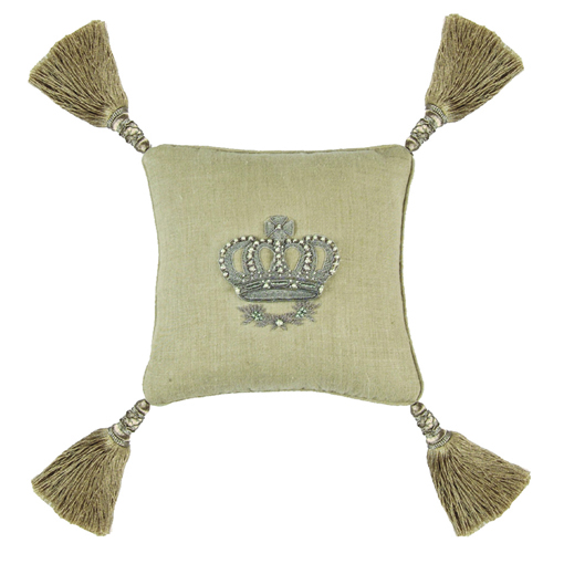 Lili Alessandra Imperial Crown Pillow in Natural Linen