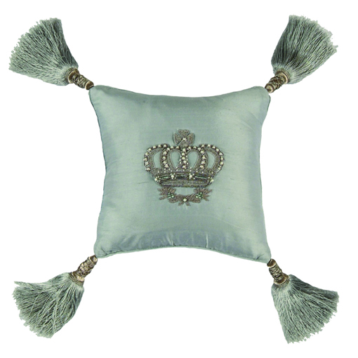 Lili Alessandra Imperial Crown Pillow in Blue Silk
