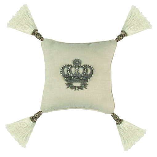 Lili Alessandra Imperial Crown Pillow in White Linen