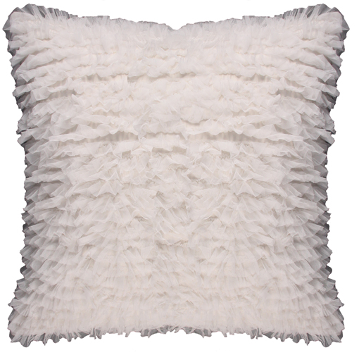 Lili Alessandra Coco Square Pillow in White Sheer
