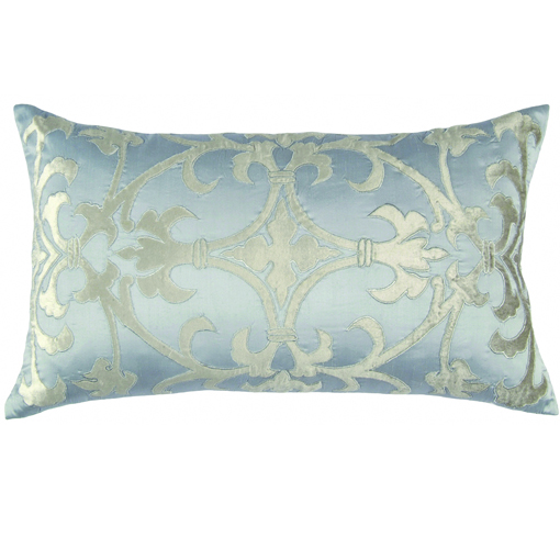 Lili Alessandra Olivia Rectangle Pillow in Blue/Silver Silk Linen