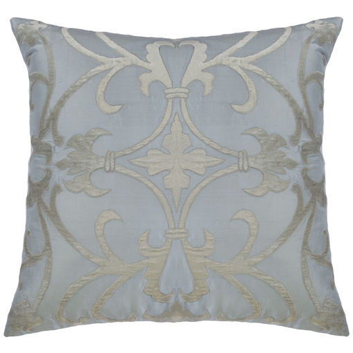 Lili Alessandra Olivia Square Pillow in Blue/Silver Silk Linen