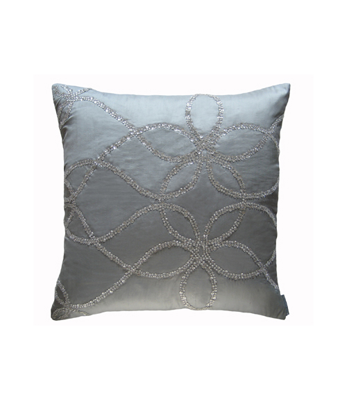 Lili Alessandra Whimsical Square Pillow in Blue Silk