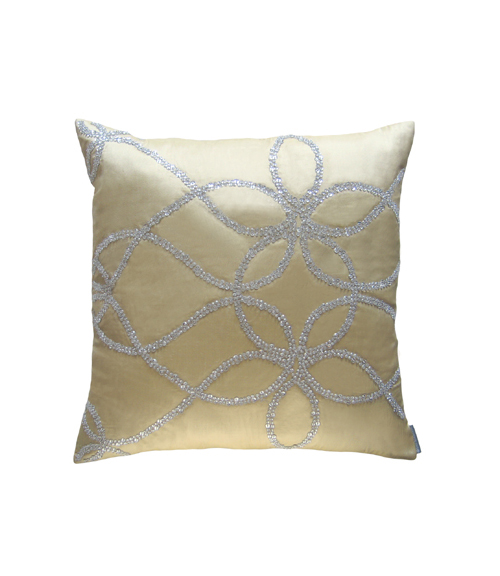Lili Alessandra Whimsical Square Pillow in Ecru Silk