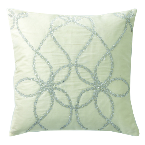 Lili Alessandra Whimsical Square Ivory Silk Pillow