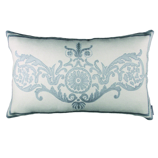 Lili Alessandra Paris Rectangle Pillow in Ivory/Blue Basket Weave