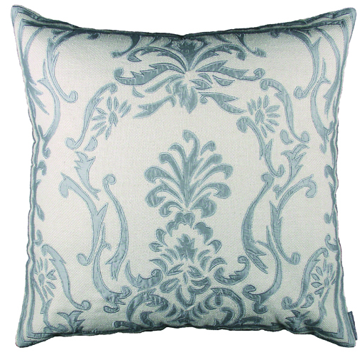 Lili Alessandra Louie Square Pillow in Ivory/Blue Basket Weave