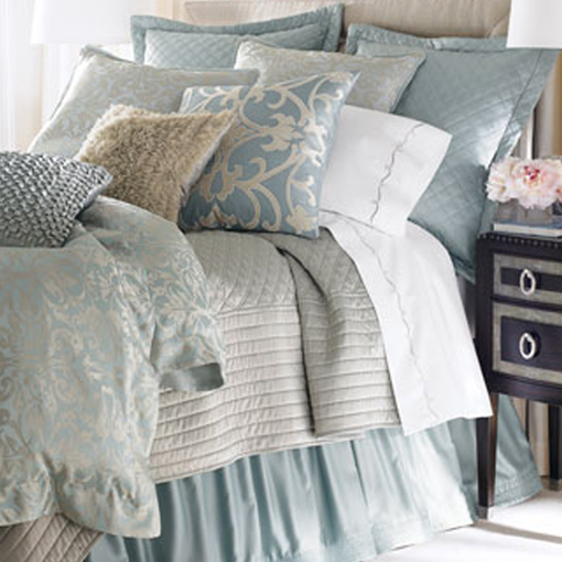 Lili Alessandra Jackie in Luxurious Silk/Tencel Fabric in Blue and Silver Jacquard Pillow