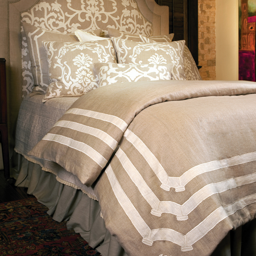 Lili Alessandra Angie Natural Linen with White Linen Applique Duvet