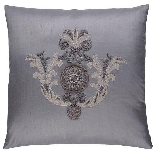 Lili Alessandra Paris Square Pillow in Blue Silk
